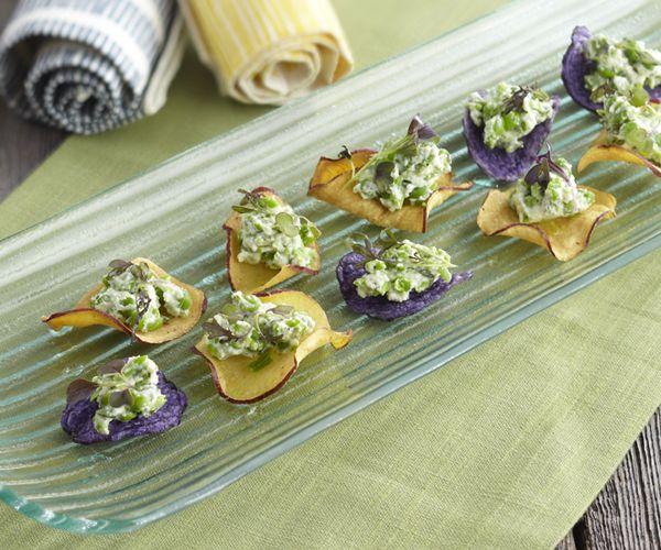 Fresh Ricotta with Peas and Tarragon on Potato Crisps | Recipe