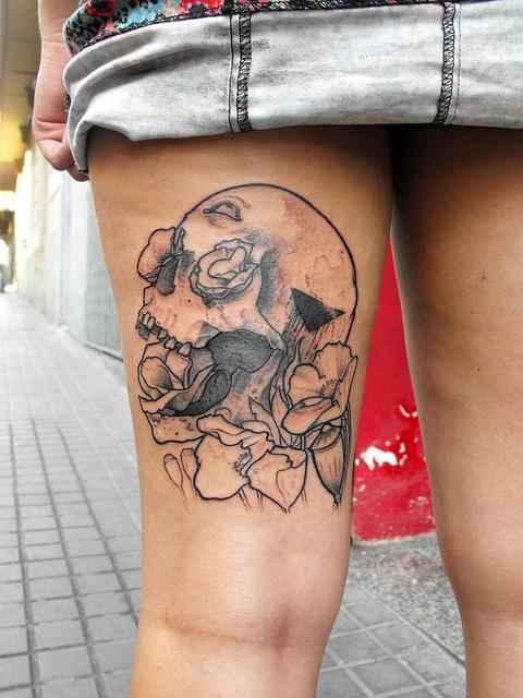 opium flowers skull tattooOpium Tattoo