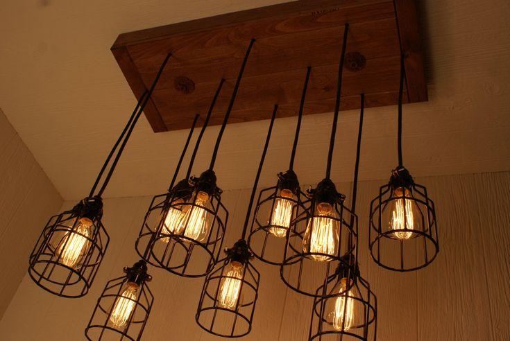 light chandelier cage lighting industrial lighting edison bulbs. Black Bedroom Furniture Sets. Home Design Ideas