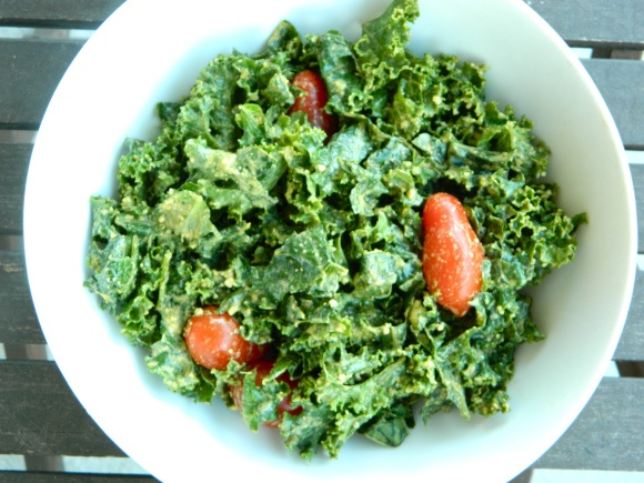 Cashew pesto kale -- can also use macadamia nuts... YUM!