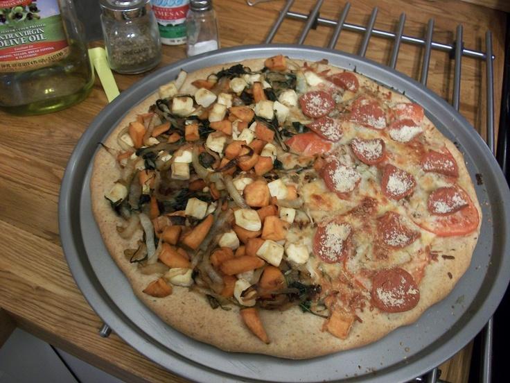 Homemade vegan pizza. Half sweet potato, kale, onions, and tofu/half ...