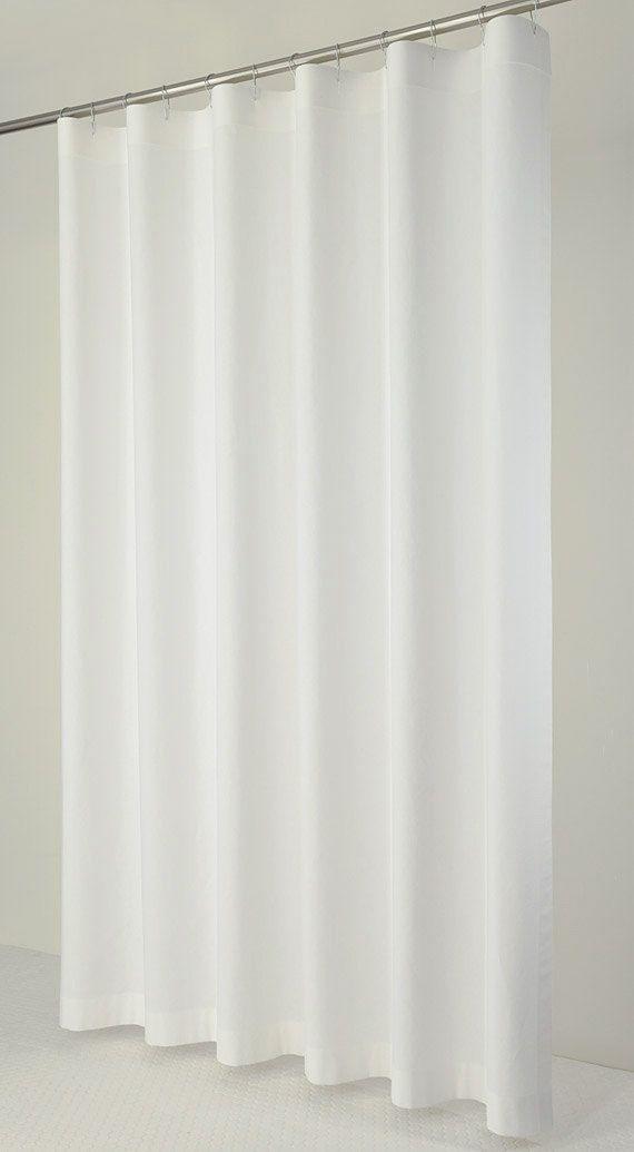 78 LONG White Linen Shower Curtain 72 x 78 LONG