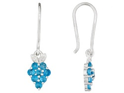 .92ctw Round Neon Apatite And White Topaz Sterlings Silver Earrings