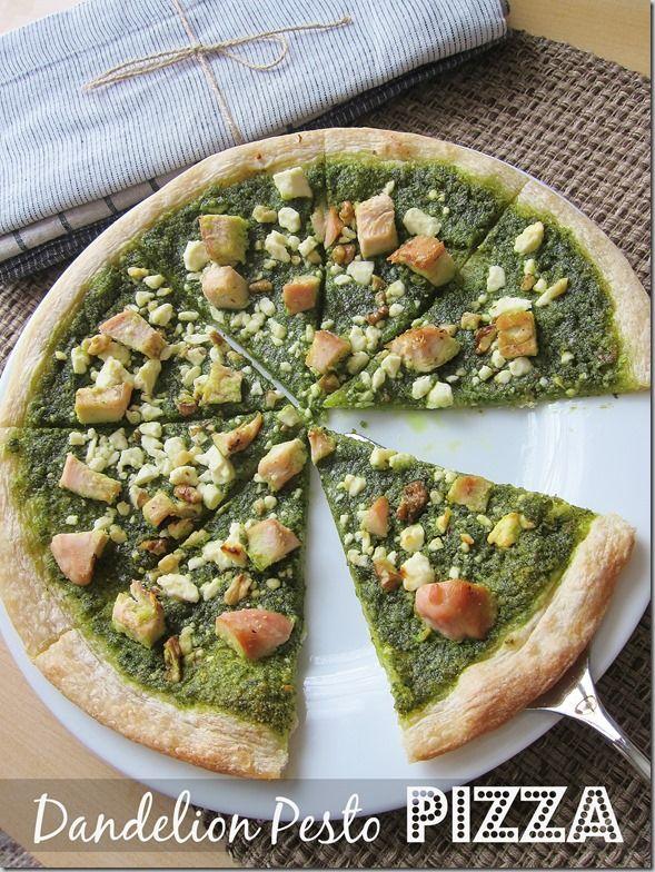 Dandelion Pesto Pizza with Feta & Chicken