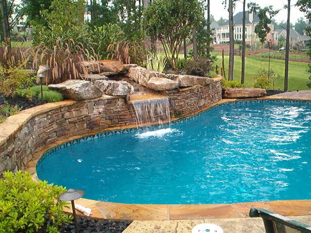 rock retaining wall Outdoor pools Pinterest