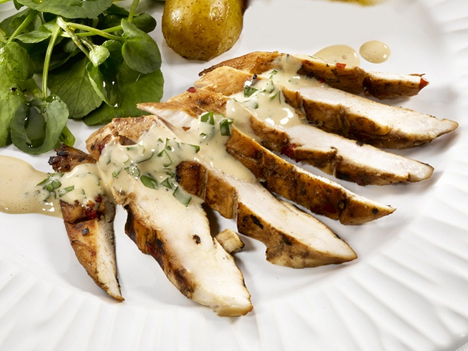 Lemon Honey Chicken Breasts with Mustard Mayonnaise | Recipe