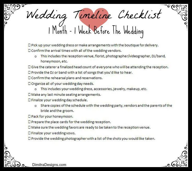 wedding planner: 6 Week Wedding Checklist
