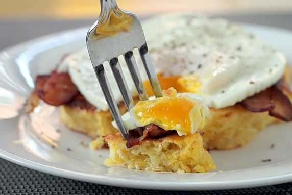 Corn Cake Breakfast Stack with Bacon and Eggs | Recipe