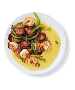 Shrimp and Sausage With Polenta