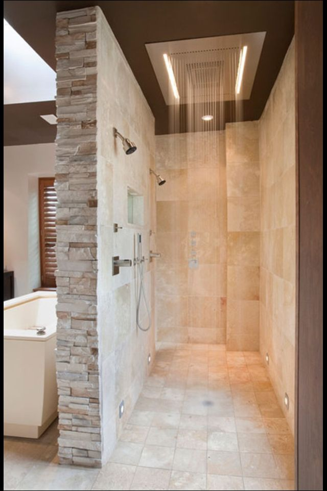 walk through rain shower master bath pinterest