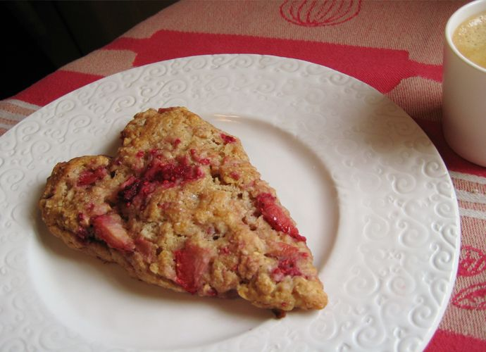 Valentine's Day Whole Wheat Ricotta and Berry Oat Breakfast Scones