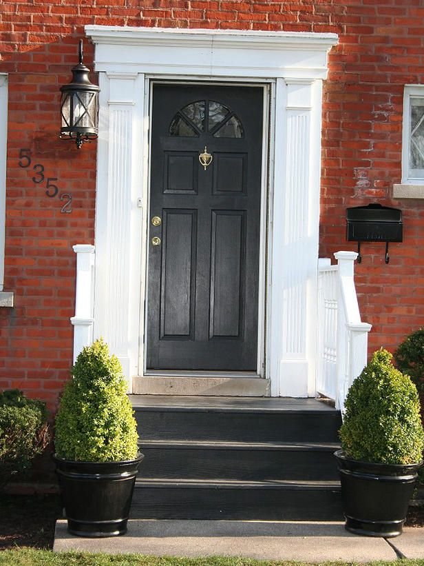 Front door steps potted greens front entry steps pinterest for 10 best front door colors