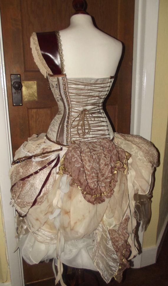 Steampunk victorian corset bustle unique alternative for Steampunk corset wedding dress