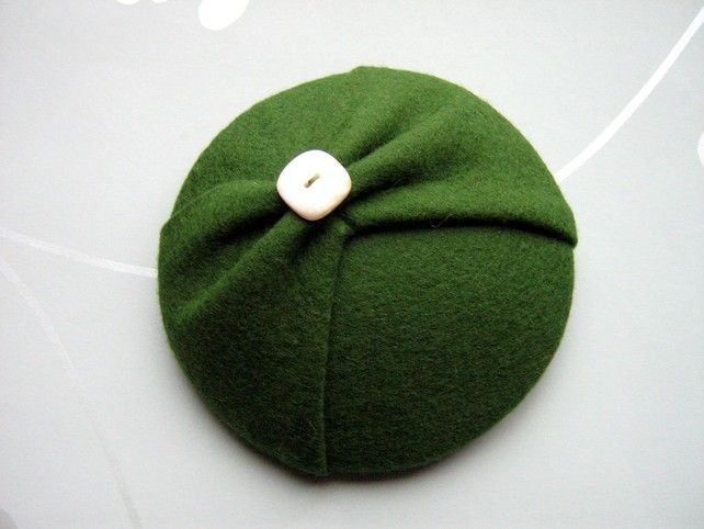 Green Felt Hat - Green Fascinator, Button Hat, Green Hat, Cocktail Hat ...