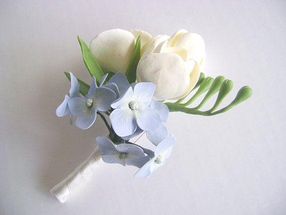 Ivory Freesia and Blue Hydrangea Wedding Boutonniere. Wedding Groomsm ... Blue Hydrangea Boutonniere