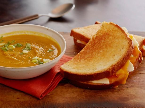 Rachael Ray's Curried Squash Soup with Apple and Cheddar Melts Recipe ...