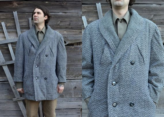 Vintage 50 s double breasted wool shawl collared barnstormer car coat