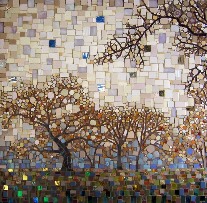"""""""Haunted""""  Glass, stone and ceramic tile mosaic  36""""h x 36""""w  SOLD      ©Michael Sweere - All Rights Reserved"""