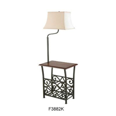 attached lamp end table with build in floor lamp magazine holder. Black Bedroom Furniture Sets. Home Design Ideas
