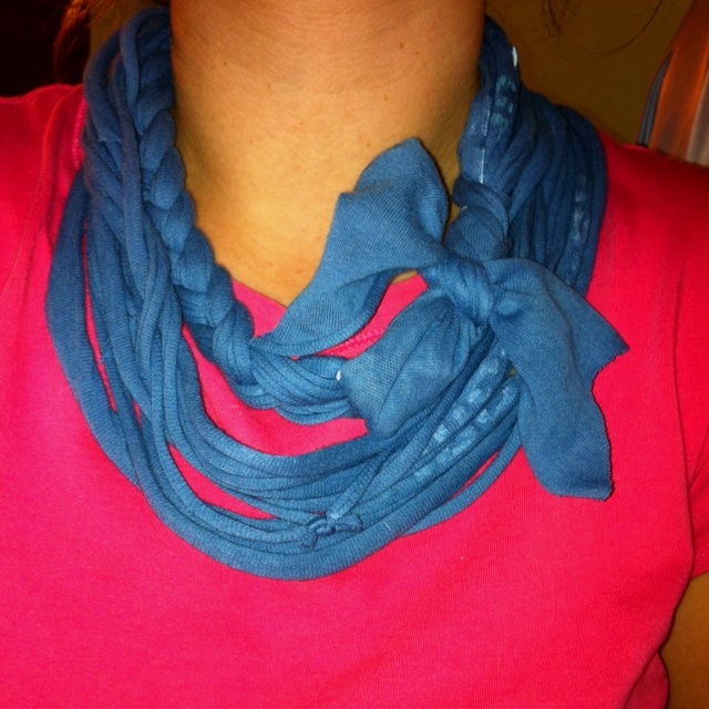 No sew jersey scarf with braid and bow | Crafts | Pinterest