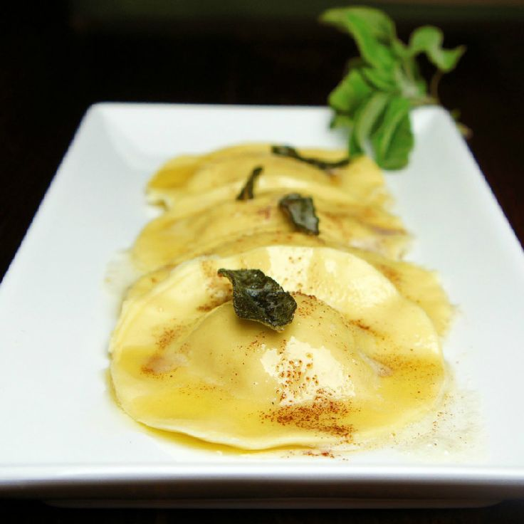 Butternut Squash Ravioli with Fried Sage Leaves and Sun-Dried Tomatoes Recipe