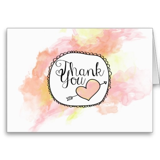 Watercolor Coral Thank You Card