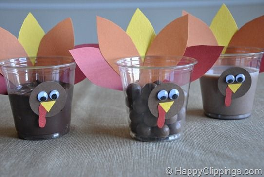 Plastic cups and construction paper make quick Thanksgiving treat holders