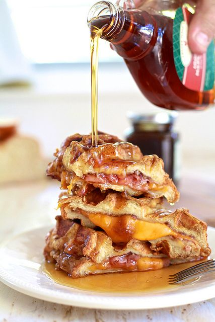 Ham & Cheese Stuffed Pumpkin Spice French Toast Waffles