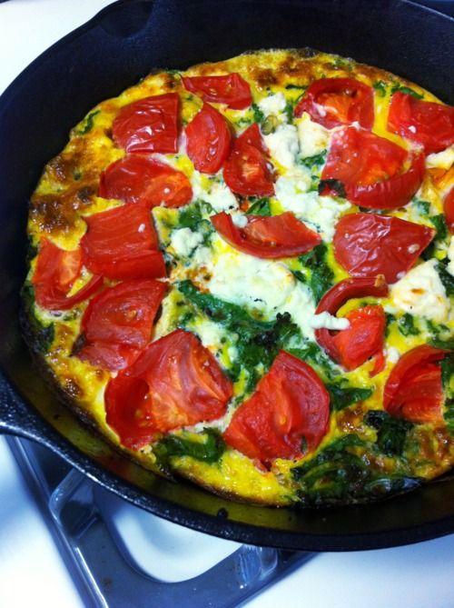 mignon mange — Goat Cheese, Heirloom Tomato and Kale Frittata