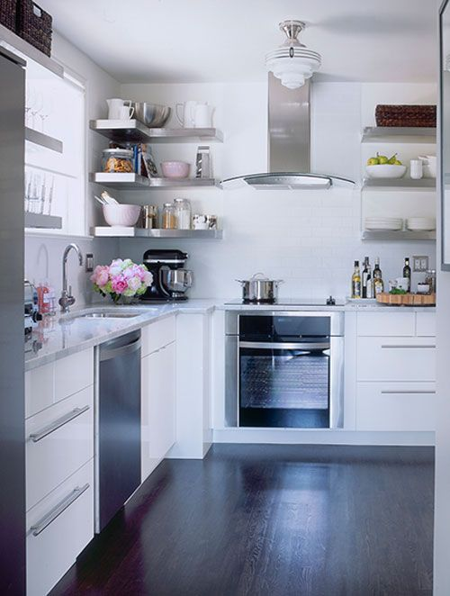 white kitchen | Stainless steel open shelving