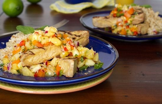 Grilled Tofu with Pineapple Salsa and Coconut Rice. changed it a tad ...