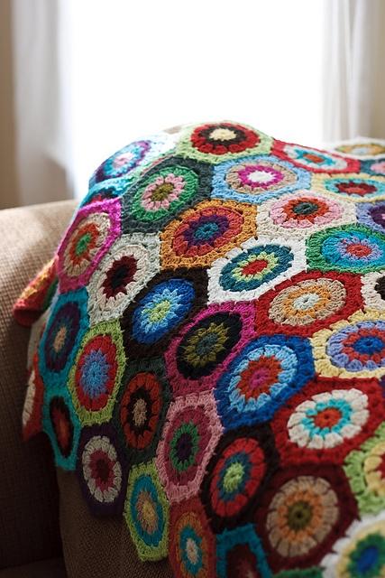 Hexagon Afghan. Crochet Pinterest