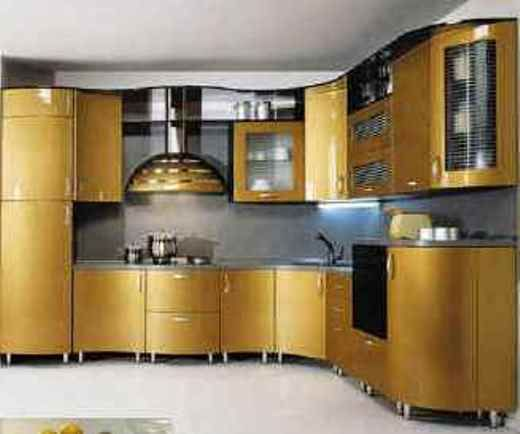 Kitchen Cabinet Ideas With Painted Dark Goldenrod Color For Kitchen