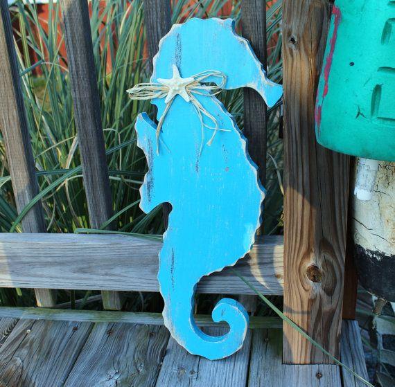 Wooden Beach Wall Decor : Seahorse wooden wall art nautical beach or nursery decor