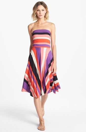 Nordstrom fit flare stripes strapless Felicity Coco dress