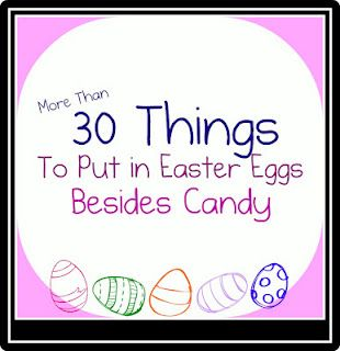 Another great list of healthy Easter egg fillers: 30 things to put in Easter Eggs besides candy via http://familyvolley.blogspot.com/2011/04/easter-egg-hunts-more-than-just-candy.html --The Pinterest.com/BaylorHealth pinners