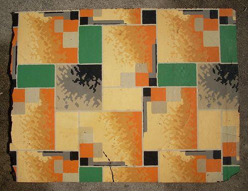 Vintage linoleum pattern c 1940 vintage antique for Vintage linoleum flooring