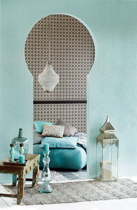 Nice wall color and an interesting mix of Moroccan and modern style