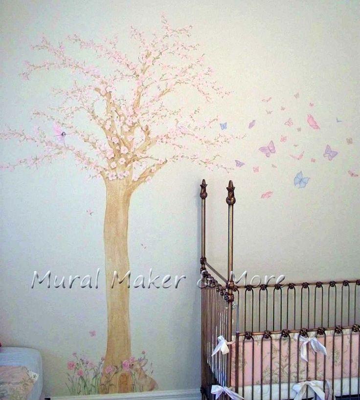 Cherry blossom tree mural in baby girl 39 s room for Cherry tree mural