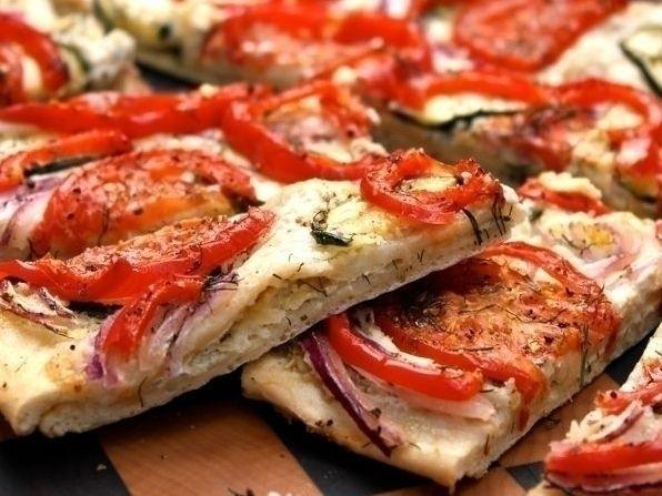 Roasted Veggie Flat Bread   Delish Recipes   Pinterest