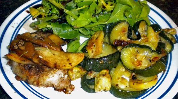 Pork Chops and Apples. Honey Glazed Pork Chops with stir fry veggies ...