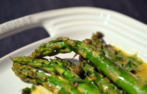 Roasted Asparagus with Dijon Mustard & Caper Dressing