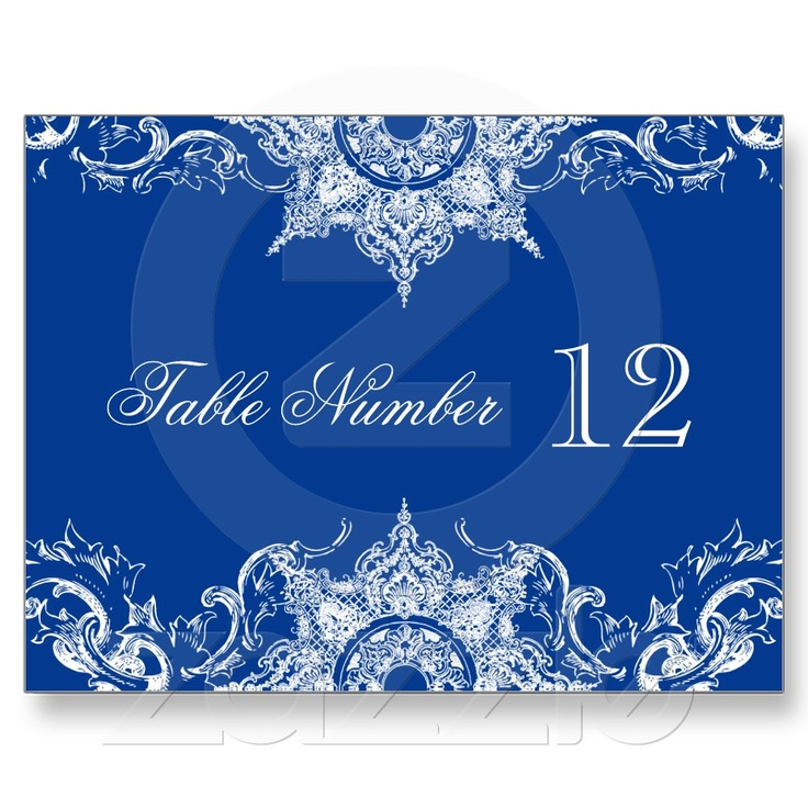 Toile Damask Reception Table Numbers Royal Blue Postcards From Zazzle