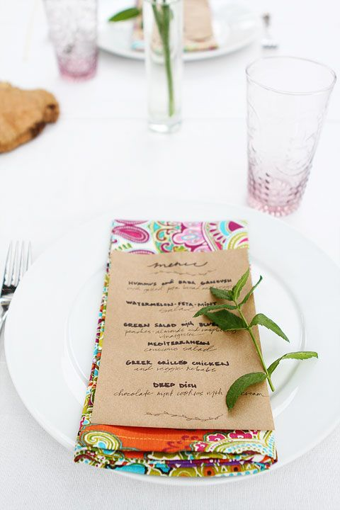 Summer Outdoor Dinner Party-menu on a brown paper bag. Love this!