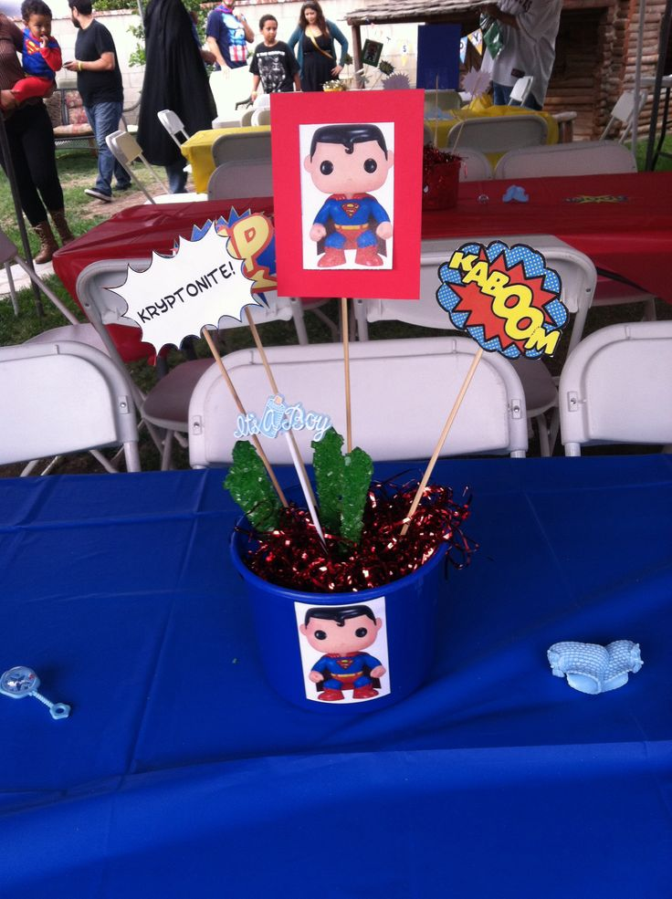 superman centerpiece i made for super zack 39 s baby shower baby