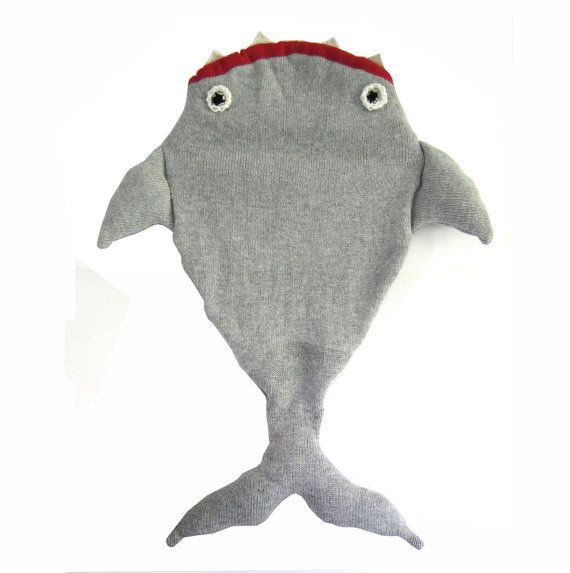 Knitting Pattern Shark Sleeping Bag : Baby Shark Sleeping Bag - Handmade Knitted Baby Costume ...