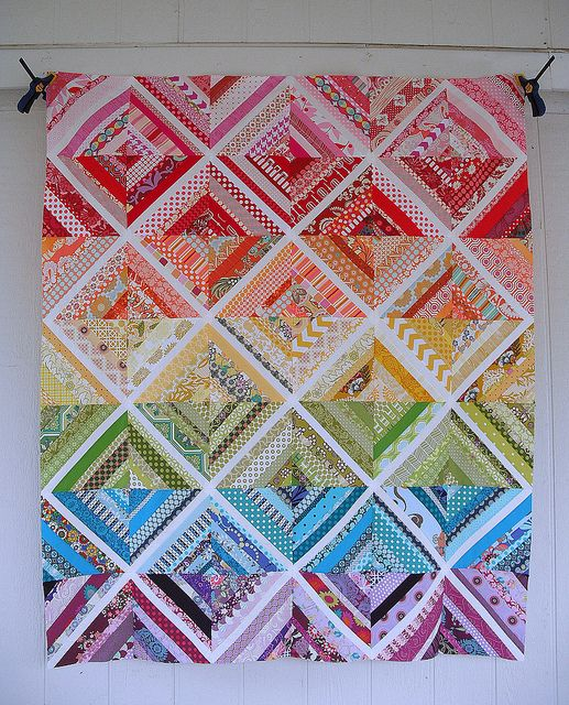 An amazing visual of color!  Scrappy String Quilt Top by jenniferworthen, via Flickr