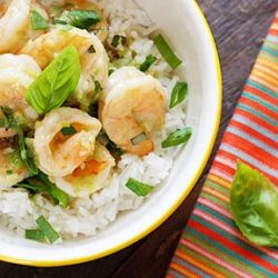 Thai Green Curry Coconut Shrimp with Basil- served with jasmine rice ...