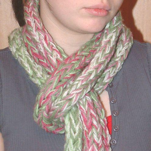 Finger Knitted Scarf Finger Knitting Pinterest