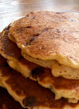 Whole Wheat Chocolate Chip Pancakes -- our family's favorite recipe!